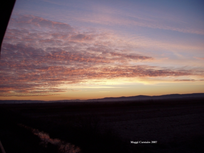 Sunrise from Train leaving Romania for Berlin