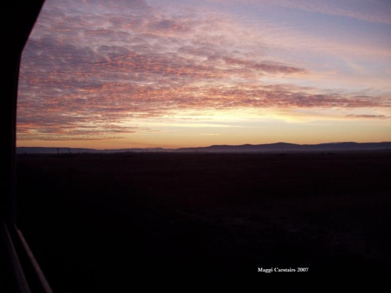 Sunrise..Train to  Romania
