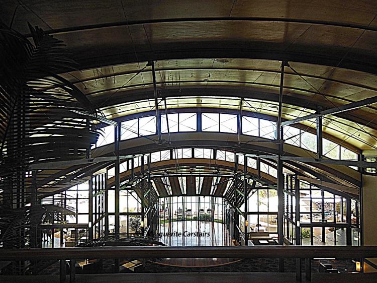 Ceiling and shape like a ship..