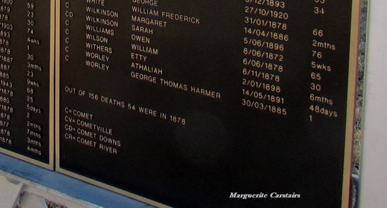 Comet Cemetery...listing of deaths...