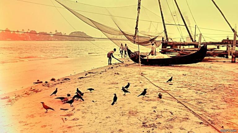 fishing nets sunset